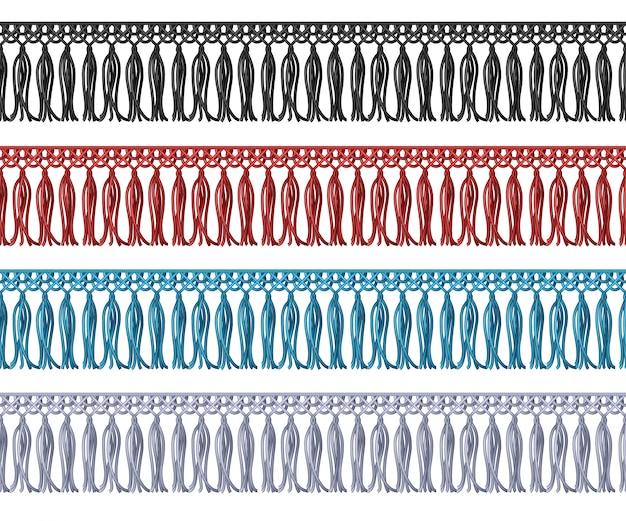 Frange sans couture avec bord en tissu à franges. éléments de vêtement. composant d'ornement de bordure en brosse pour vetement et habillement