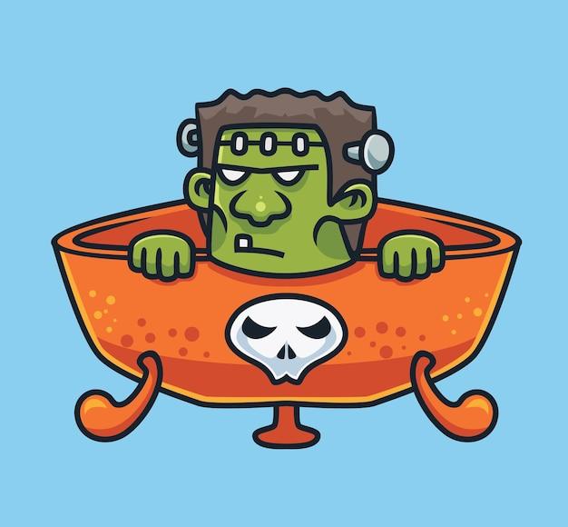 Frankenstein mignon sur un bol magique cartoon concept halloween illustration isolé style plat