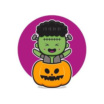 Frankenstein mignon avec illustration d'icône de dessin animé citrouille halloween. concevoir un style cartoon plat isolé