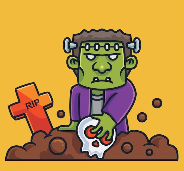 Frankenstein mignon tenant le dessin animé de cimetière de crâne concept d'halloween illustration isolée style plat