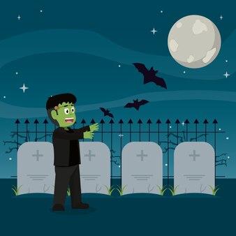 Frankenstein monstre avec des comprimés de chauves-souris et de pierres