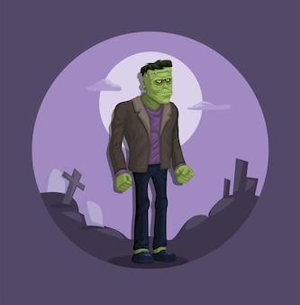 Frankenstein monstre urbain légende figure cartoon illustration vecteur
