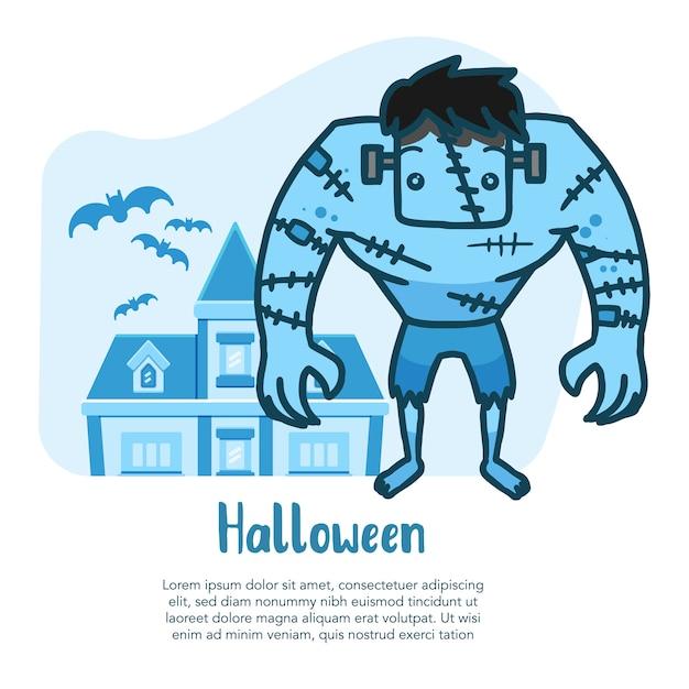 Frankenstein vecteur dessiné à la main