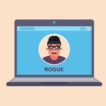 Fraude informatique sur internet. criminel dans un moniteur d'ordinateur portable. vecteur plat