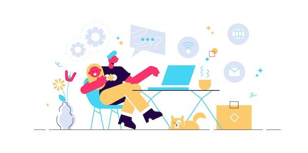 Freelance avec enfant travaillant sur ordinateur portable. parent travaillant avec son fils. bureau à domicile. travailleur à distance, horaire des employés, concept d'horaire flexible. illustration isolé bleu corail rose