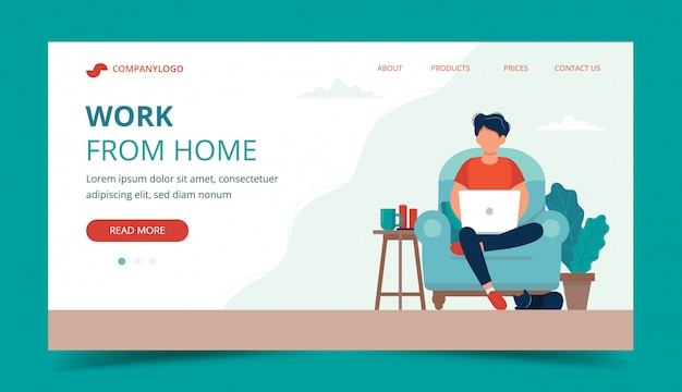 Freelance - homme avec ordinateur portable sur la chaise. modèle de page de destination.