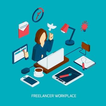 Freelance lieu de travail isométrique