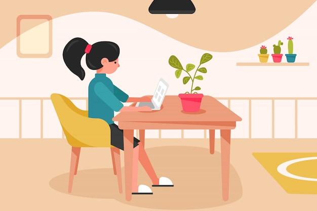 Freelance, quarantaine, travail, concept d'entreprise
