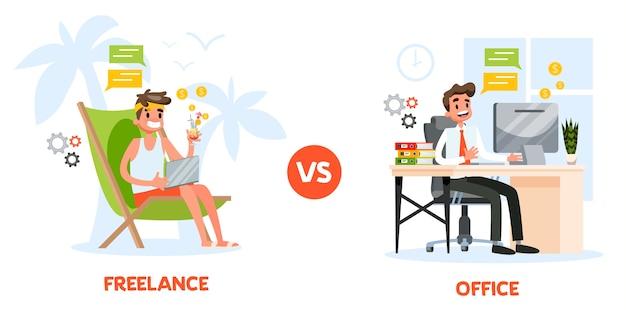 Freelance vs concept de travail de bureau. homme assis