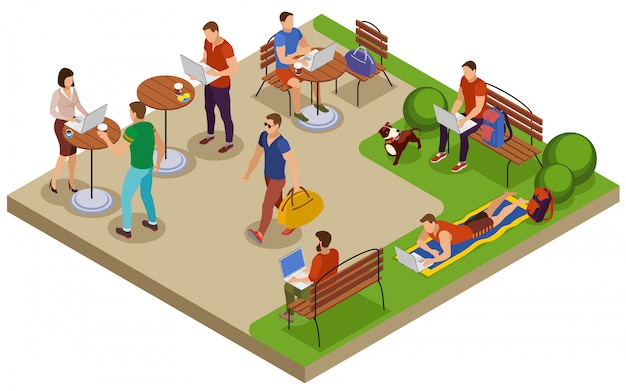 Freelancer composition d'été isométrique typique jour avec lieu de travail en plein air dans le parc de la ville table de café de pelouse