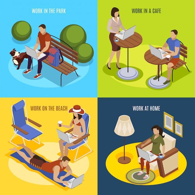 Freelancer habituel jour 4 icônes isométriques carré avec travail à la maison dans le parc sur la plage