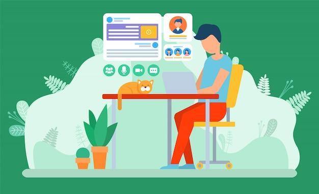 Freelancer travaillant au bureau ou à la maison, freelancer