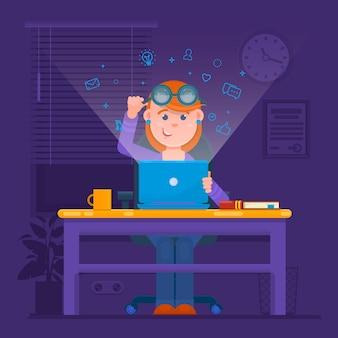 Freelancer travaillant de nuit