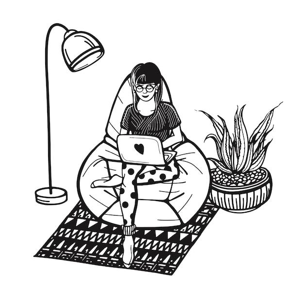 Freelancer travaille à domicile une fille travaillant à la maison pendant la pandémie de coronavirus en ligne...