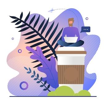 Freelancer travaille avec du café