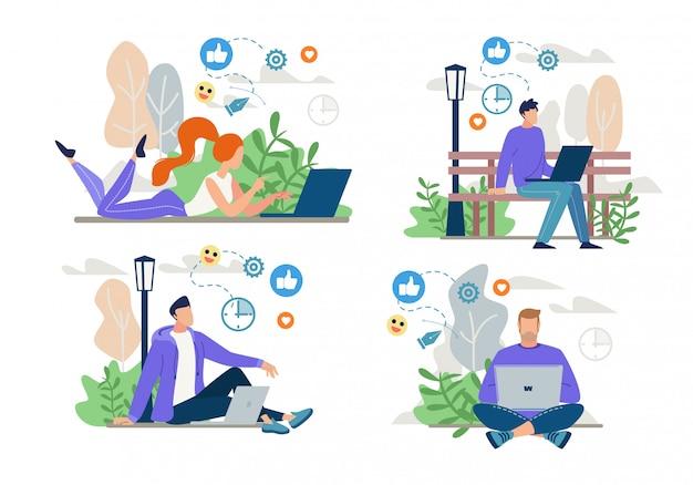 Freelancers, bloggers work online, ensemble de mise en réseau
