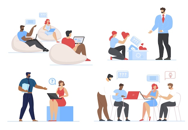 Freelancers people working on laptop set ensemble