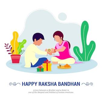 Frère et sœur attachant décoré rakhi pour le festival raksha bandhan. illustration.