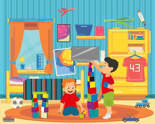 Les frères jouent avec des jouets.