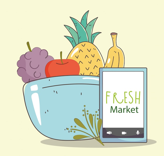 Fresh market smartphone aliments sains biologiques bol fruits et légumes