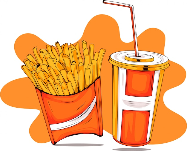 Frites et boissons gazeuses fast-food cartoon illustration