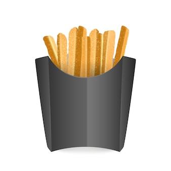 Frites dans un sac noir. fast food. isolé