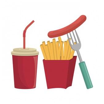 Frites français fast food design isolé