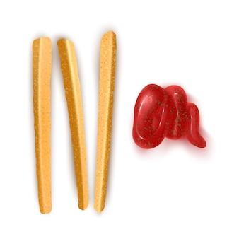 Frites avec sauce chili et ketchup