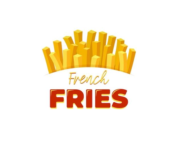Frites savoureuses fast street food dans une boîte d'emballage en carton avec lettrage conception d'affiche publicitaire d'inscription. bannière de restaurant de frites de pommes de terre à plat de vecteur eps ou modèle de flyer promotionnel