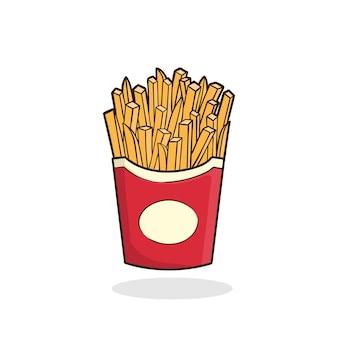 Frites Vecteur Isolé Fast Food Vecteur Premium
