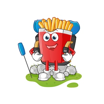 Les frites vont mascotte du camping. dessin animé