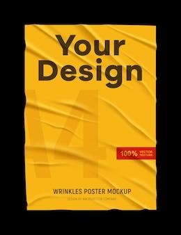 Froissé, mal collé, papier jaune froissé, texture d'affiche noire