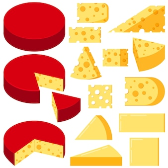 Fromage diverses formes tranches vector set isolé sur fond blanc.