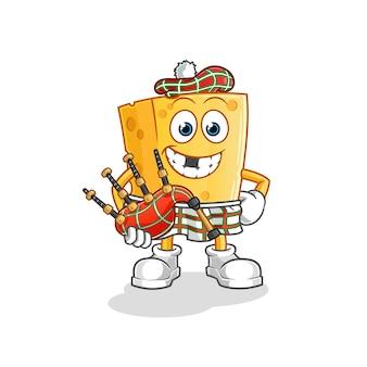 Fromage écossais avec mascotte de dessin animé de cornemuse