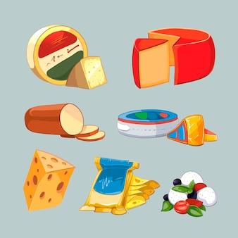 Fromage en emballage. vecteur défini dans le style de dessin animé. nourriture au fromage, fromage au lait de produit, illustration fraîche de fromage de petit déjeuner