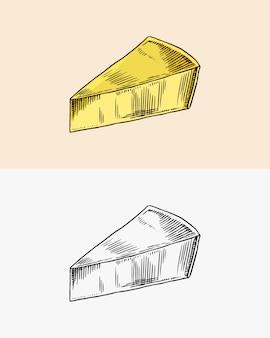 Fromage pour marché ou épicerie croquis dessinés à la main gravé frais