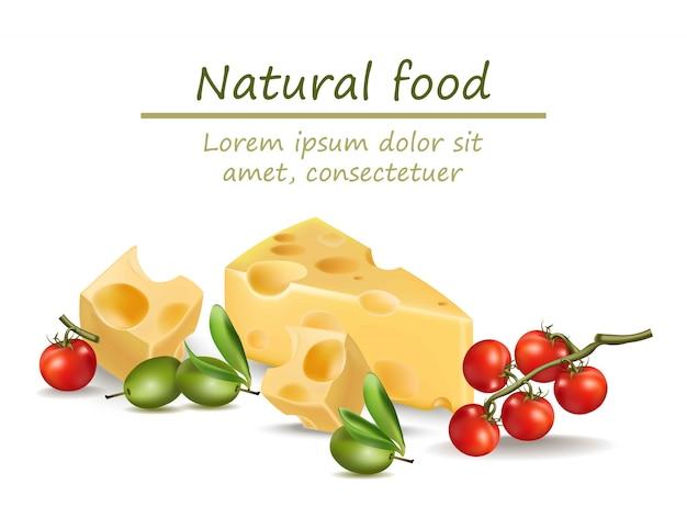 Fromage réaliste. nourriture naturelle pour le menu, livres de cuisine, blogs
