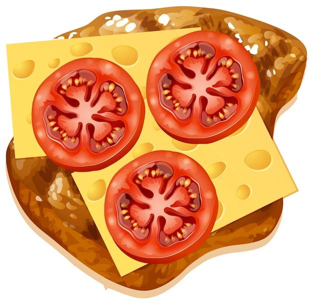 Un fromage et une tomate sur un toast