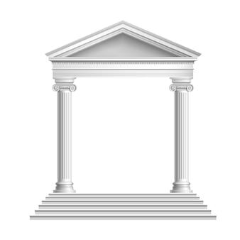 Front du temple avec des colonnes