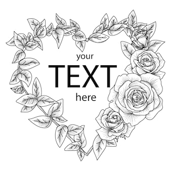 Frontière d'amour floral avec rose dessiné à la main
