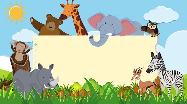 Frontière avec des animaux sauvages en arrière-plan