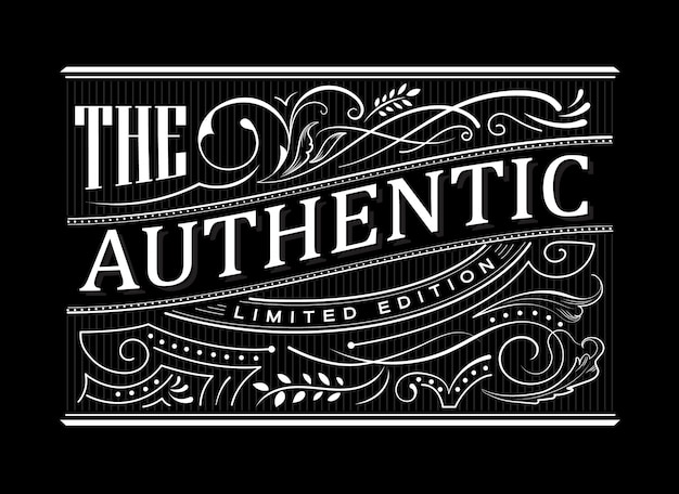 Frontière antique vintage cadre occidental étiquette typographie dessinée à la main gravure illustration rétro