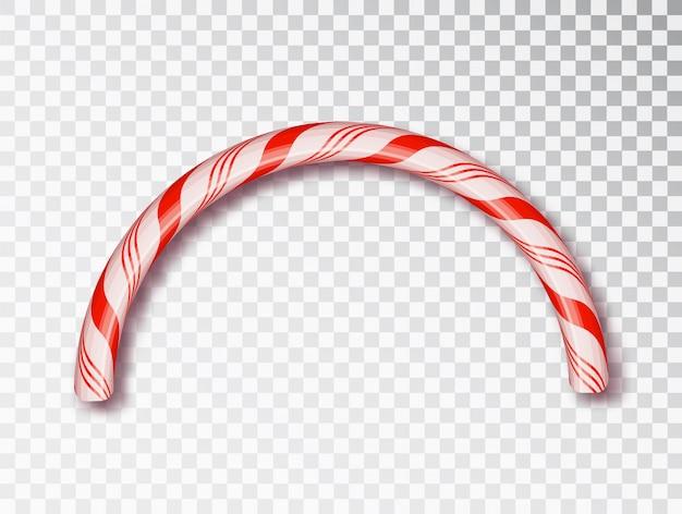 Frontière de bonbons de noël isolée. conception de noël vierge, cadre réaliste de cordon torsadé rouge et blanc.