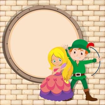 Frontière avec chasseur et princesse