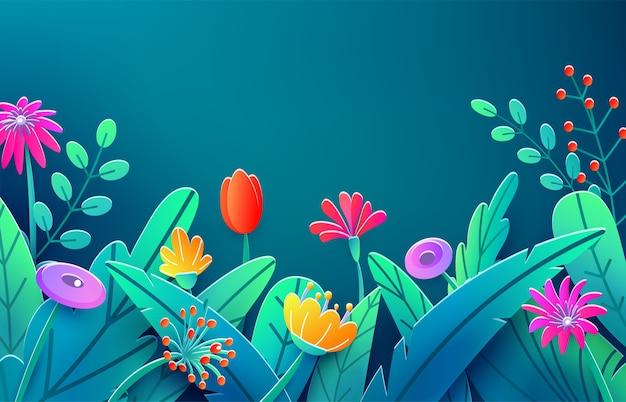 Frontière d'été avec des fleurs de fantaisie coupées en papier, feuilles, tige isolée