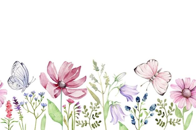 Frontière d'été avec des fleurs