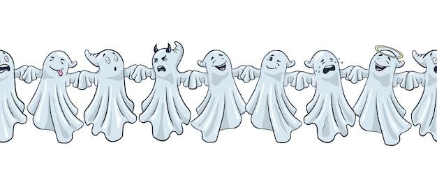 Frontière de fantômes drôles. style de bande dessinée. bordure de fantômes mignons halloween dessinés à la main. vecteur premium
