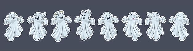 Frontière de fantômes mignons. style de bande dessinée. bordure de fantômes drôles halloween dessinés à la main. vecteur premium
