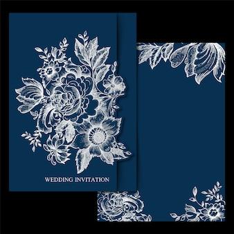 Frontière d'invitation de mariage vintage floral de printemps