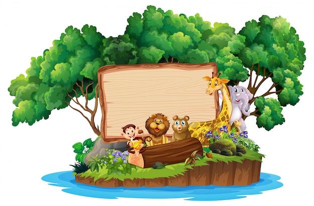 Frontière, à, mignon, animaux, sur, île